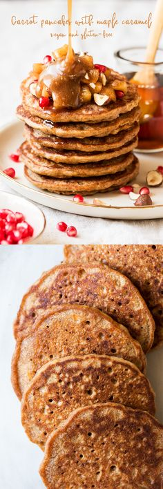 Vegan carrot pancakes feature grated carrot and fall spices, they taste just like carrot cake, but make a nutritious and gluten-free breakfast! Vegan Pancake Recipes, Best Vegan Recipes, Vegan Dessert Recipes, Waffle Recipes, Vegan Sweets, Vegan Foods, Vegan Dishes, Sweet Recipes, Carrot Pancakes