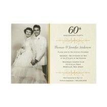 Elegant 60th Wedding Anniversary Party Invitations idea I love the idea of grandma and grandpa's wedding picture on it.........