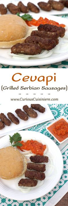 Cevapi are easy to make, grilled sausages from Southeastern Europe that burst with smoky flavor and are perfect for serving with flatbread and sliced onions. Albanian Recipes, Bosnian Recipes, Croatian Recipes, Hungarian Recipes, Carne, Grilling Recipes, Cooking Recipes, Eastern European Recipes, Grilled Sausage