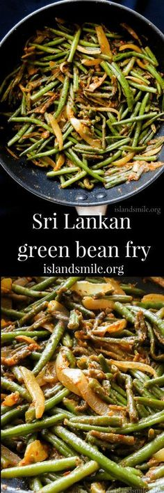 Sri Lankan chilli green bean fry a typical super spicy stir-fry its an easy skillet side dish for anyone who loves extra heat with loads of chillies. Vegetarian Side Dishes, Vegetarian Recipes, Healthy Recipes, Vegan Vegetarian, Easy Recipes, Spicy Green Beans, Fried Green Beans, Side Dish Recipes, Lunch Recipes