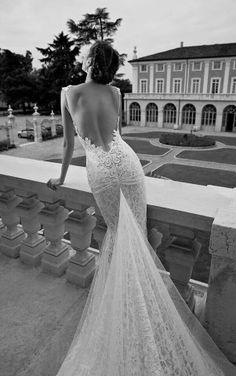 Berta Elite Design detailed backless lace wedding gown dress sheath mermaid silhouette