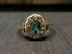 Victorian Tourmaline and Rose Cut Diamond Ring 14k, c. 1890