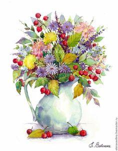 Картины цветов ручной работы. Ярмарка Мастеров - ручная работа. Купить Букет с одуванчиками и ягодами в кувшине. Handmade. Желтый, букет