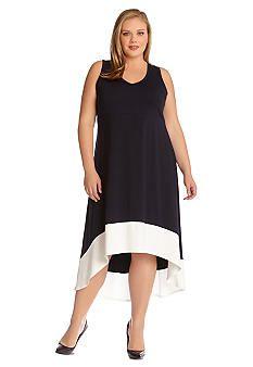 14030892230 Karen Kane Plus Size Color Blocked Hi-Lo Sleeveless Dress at Belk   BelkStyle Plus