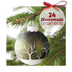 See how to make 24 easy and beautiful ornaments including this painted scene: http://www.midwestliving.com/holidays/christmas/easy-homemade-christmas-ornaments/?page=1