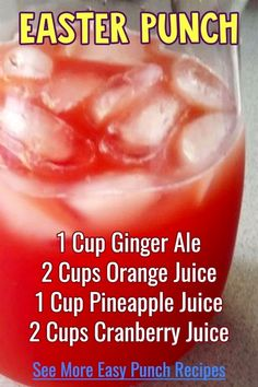 Punch recipes - easy Easter punch recipe for your Easter brunch party or for a crowd at Easter Sunday dinner, potluck or family gathering at home or at church. See lots more punch recipe ideas like this - both non alcoholic and with for all holidays and parties