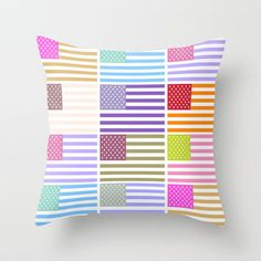 Throw Pillow Cover  USA Flags  Pastel Colors  16x16 by adidit