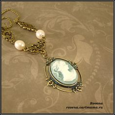 "The necklace made after Katherine Pierce cameo necklace. She appears in it during 1864's flashbacks in season1 of ""The Vampire diaries"" show .The necklace is made of resin cameo, brass settings and freshwater pearls. Cameo size is 18x23mm"