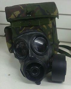 British Army S10 Respirator Gas Mask and Bag  SAS / SWAT / Fetish / Steampunk