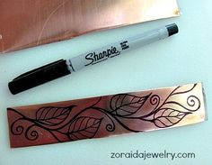 How I designed my etched bracelet Inked in design directly on cut blank Sharpie creates resist for etching Jewelry Tools, Copper Jewelry, Wire Jewelry, Jewelry Crafts, Jewelry Art, Beaded Jewelry, Handmade Jewelry, Jewelry Design, Copper Cuff