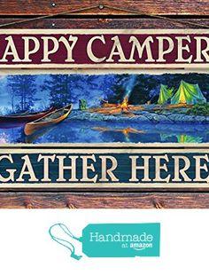 """Happy Campers Gather Here"" - 8""x12"" 3 Piece Reclaimed Pallet Wood Sign - Handmade in Nashville, TN from Sawyer's Mill Inc. http://www.amazon.com/dp/B01AHN7LGA/ref=hnd_sw_r_pi_dp_4fyUwb19M9J05 #handmadeatamazon"