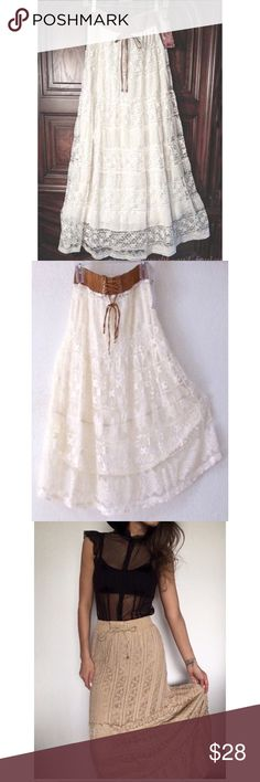 Anthropology Lapis peasant BoHo skirt Anthropology long cream boho style skirt with lace & crochet size small Anthropologie Skirts Maxi