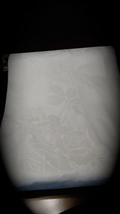 "Vintage Damask White on White Floral Huge 100"" x 70"" Tablecloth Linens   Free Shipping by moldyoldies on Etsy"