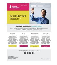 Plantillas newsletter para que tu negocio gane visibilidad. El sector del Marketing y Publicidad acertará con estos diseños totalmente personalizables.