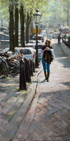 In the city (Amsterdam) by Richard van Mensvoort Oil Painting Frames, Oil Painting Texture, City Painting, Painting Still Life, Sketch Painting, Fashion Painting, Oil Paintings, I Amsterdam, Urban Sketching