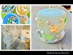 DIY Seashell, seaglass and sand Candles Beach Themed Crafts, Beach Crafts, Diy Crafts, Sand Candles, Diy Candles, Decorating Candles, Decorating Tips, Diy 2019, Driftwood Projects