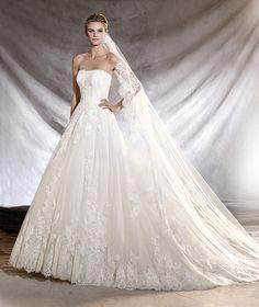 ORIBE - Vestido de novia de tul y encaje con escote bañera