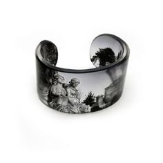 Cuff,  Resin Graphic Cuff. Graveyard.  Resin Bangle.
