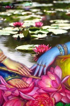 Krishna and Radha : Hindu art Hare Krishna, Krishna Leela, Radha Krishna Love, Radha Rani, Radha Krishna Quotes, Lord Krishna Images, Radha Krishna Pictures, Orisha, Shiva