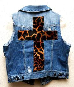 DIY jeans refashion: DIY: jean jacket cheetah cross
