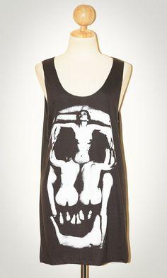 Women Skull Salvador Dali Halloween Charcoal Black  Tank Top Sleeveless Women Art Punk Rock T-Shirt Size M. $15.99, via Etsy.