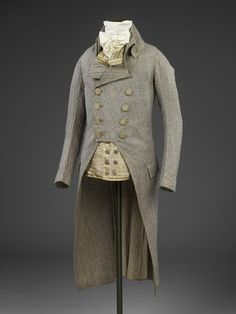 Coat        Place of origin:        England, Great Britain (made)      Date:        1790 (made)      Artist/Maker:        Unknown (production)      Materials and Techniques:        Wool      Museum number:        T.281-1991      Gallery location:        Fashion, room 40, case CA18, shelf FIG1
