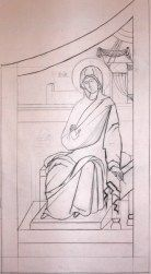 Drawing of Mary, Theotokos. This is my drawing for the other set of Royal doors, done in 2006. I so loved the drawings, I wanted to use them somehow . When the parish agreed, I was delighted.