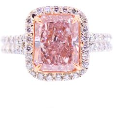 3 Carat Natural Pink Diamond Ring at 1stdibs ❤ liked on Polyvore