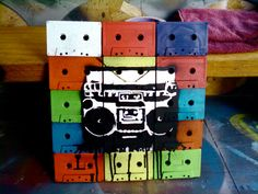 Painting Ideas On Canvas With Tape Products 42 Super Ideas Spray Paint Artwork, Tape Painting, Diy Crafts Recycled Materials, Stencil Art, Stencils, Cassette Tape Art, Vhs, Found Art, Wood Wall Art