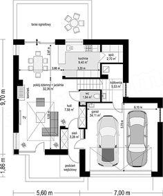 Rzut parteru projektu Tytan 4 6 Bedroom House Plans, My House Plans, Lobby Design, Architect House, Modern House Design, Planer, New Homes, Floor Plans, How To Plan