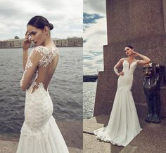 Mermaid Wedding Dress Pattern 2016 Sexy Wedding Dresses With Illusion Long Sleeves By Israel Nurit Hen V Neck Chiffon Lace Mermaid Bridal Gowns With Chapel Train Red Mermaid Wedding Dresses From Nicedressonline, $233.72| Dhgate.Com