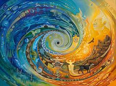 Sam Brown Art - Original Paintings and Fine Art Prints inspired by the Great Spiral and my life in the remote desert of Abiquiu, New Mexico. Kunst Der Aborigines, Spiral Art, Quilt Modernen, Brown Art, Visionary Art, Aboriginal Art, Psychedelic Art, Fractal Art, Mandala Art