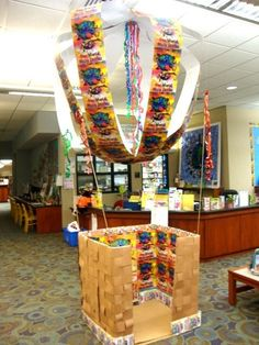 Hot Air Balloon 2 Hot air balloon reading nook for libraries and classrooms.<br> This hot air balloon served as a reading area during the summer of Eyfs Classroom, Classroom Layout, Classroom Themes, School Displays, Library Displays, Classroom Displays, Reading Corner Classroom, Reading Nook, Reading Areas