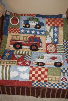 FireTruck Police Car and Ambulance Panel Quilt by SewMuch4me2do, $38.00