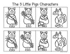 3 little pigs retelling a story storyboard and character for The three little pigs puppet templates