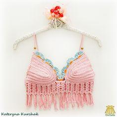Pink crop top transformer with tassels ♥ Pink Crop Top, Crochet Tops, Crop Tops, Tassels, Women, Fashion, Cropped Tops, Moda, Women's