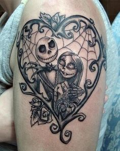 Amazing Jack and Sally tattoo Design Idea - Tattoo Design Ideas
