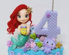 Little Mermaid Cakes, Mermaid Birthday Cakes, The Little Mermaid, 4th Birthday, Birthday Parties, Mermaid Kids, Disney Canvas, Party Cakes, Cake Toppers