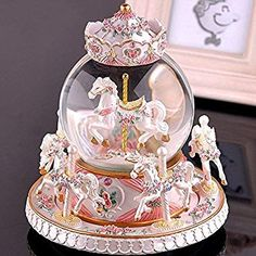 LOHOME Rotate Music Box, Luxury Carousel Crystal Ball Glass Ball Doll Miniature Dollhouse Toy with Castle in the Sky Tune Perfect for Christmas Gift Birthday Gift Valentine's Day (Pearl White) Dollhouse Toys, Dollhouse Miniatures, Carousel Musical, Baby Musical Toys, Musical Snow Globes, Baby Bath Toys, Castle In The Sky, Glass Ball, Crystal Ball