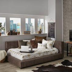 Teen Room Decor, Home Decor Bedroom, Boho Living Room, Living Room Decor, Bed In Living Room, Rustic Bedding, Upholstered Platform Bed, Bed Reviews, Guest Bed