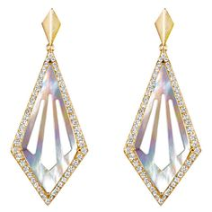 She Adorns Mother of Pearl Cut-Out Kite Earrings ($3,800) ❤ liked on Polyvore featuring jewelry, earrings, white earrings, sparkly earrings, white jewelry, 18 karat gold jewelry and 18k jewelry