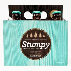 Identity and package design for a self developed and imagined organic iced coffee brand Stumpy.