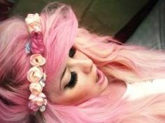 pink hair with a flower crown