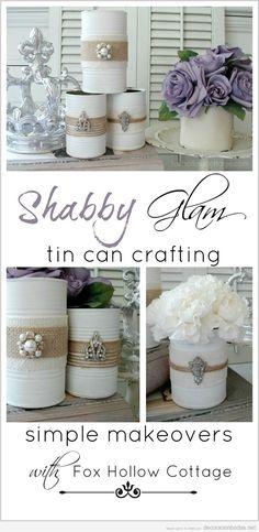 Ideas decorar de centro de mesa barato DIY con latas recicladas