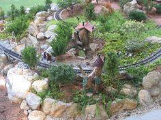 Development of the Sandflea and Redbud Garden Railway. Garden Railroad, Miniature Gardens, Fairy Land, Beds, Gardening, Green, Lawn And Garden, Bedding, Bed