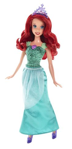 Girls beloved heroine, Ariel, from Disney?s animated classic The Little Mermaid absolutely dazzles in head to toe sparkling fashions with a uniquely sea-sational silhouette! She wears a shiny purple c
