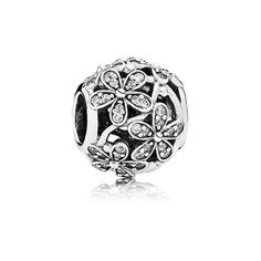 Daisy silver charm with cubic zirconia