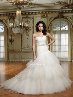 Tulle Strapless Sweetheart Ballgown Multi-tiered Skirt Lace-up Back Wedding Dress at Dressesplaza.com Item: 22045 List Price: $ 815.00 Our Price: $339.00