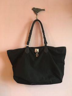 Christian Dior Shopper Vintage Authentic Leather Canvas Black Bag ceba477155461