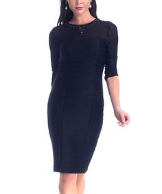 Take a look at this Black Beaded Three-Quarter Sleeve Dress by NUE by Shani on #zulily today!
